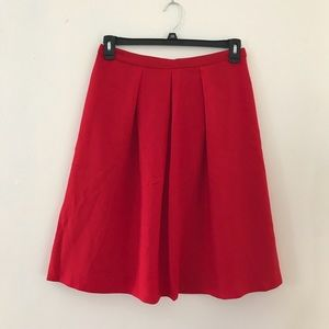 The Limited Red Pleated Aline Skirt Knee Length M